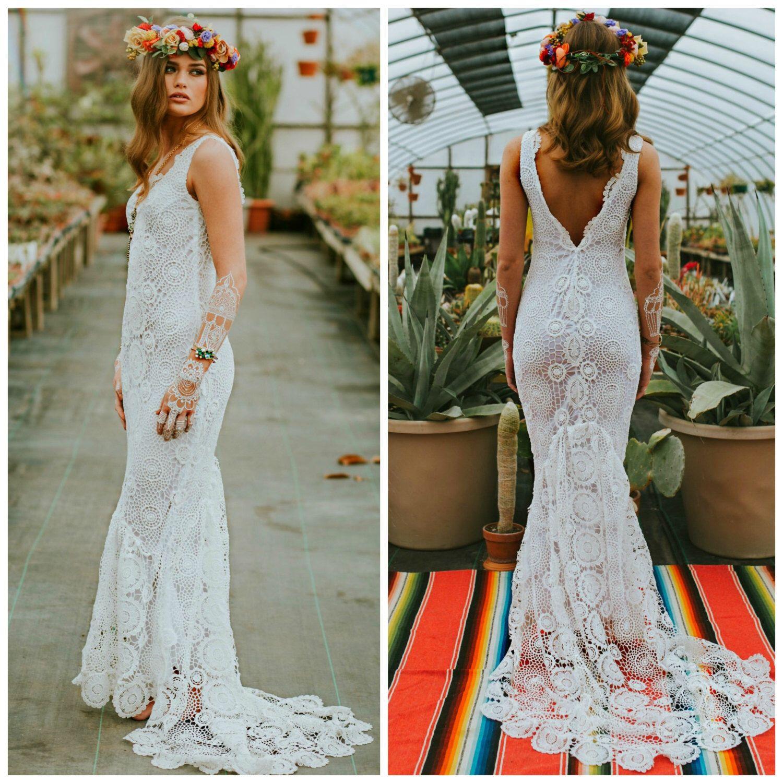 Häkeln Sie, Boho Brautkleid, Häkelspitze Hochzeitskleid