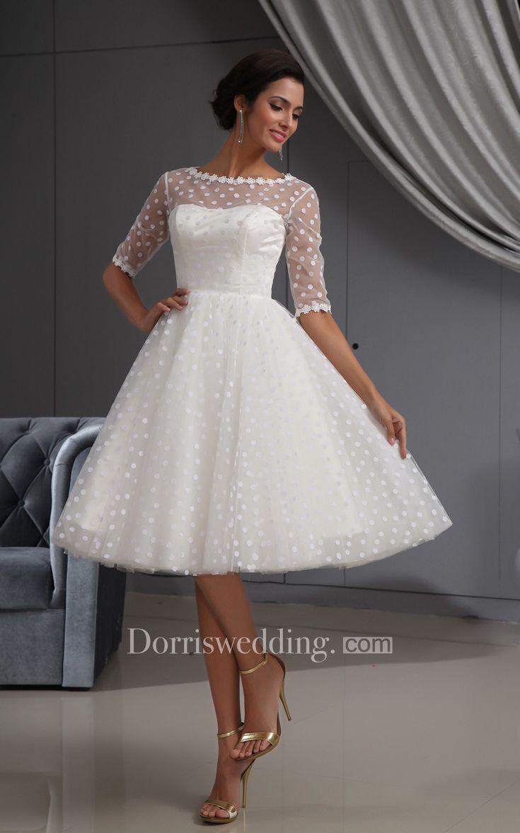 Halbarm – Illusion – Knielanges, Kurzes Kleid Mit Spitze Und