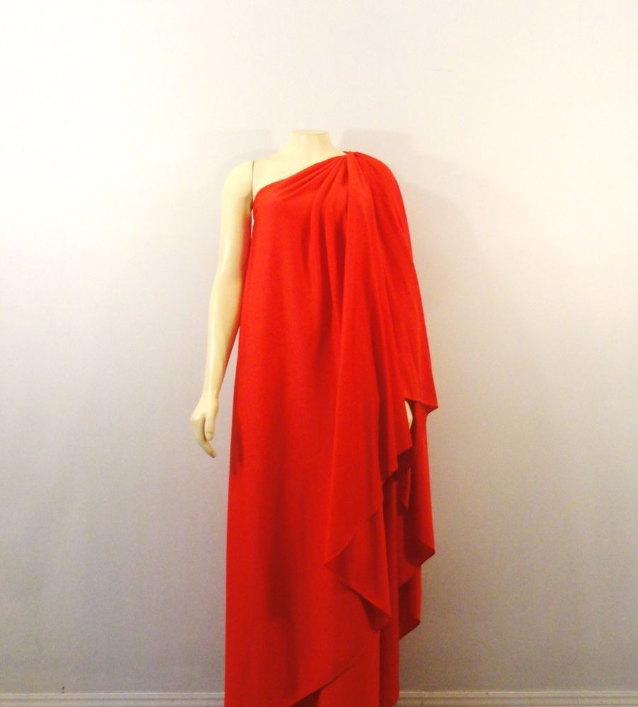 Halston Iv Dress Iconic Grecian Goddess Draped One Shoulder