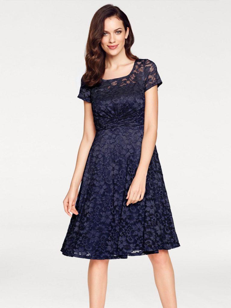 Heine Spitzenkleid Damen, Nachtblau, Größe 10 - Abendkleid