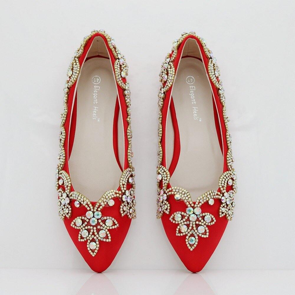 Hochzeit Ferse Mode Schuhe Kleid Rot Diamant Red Blume Für
