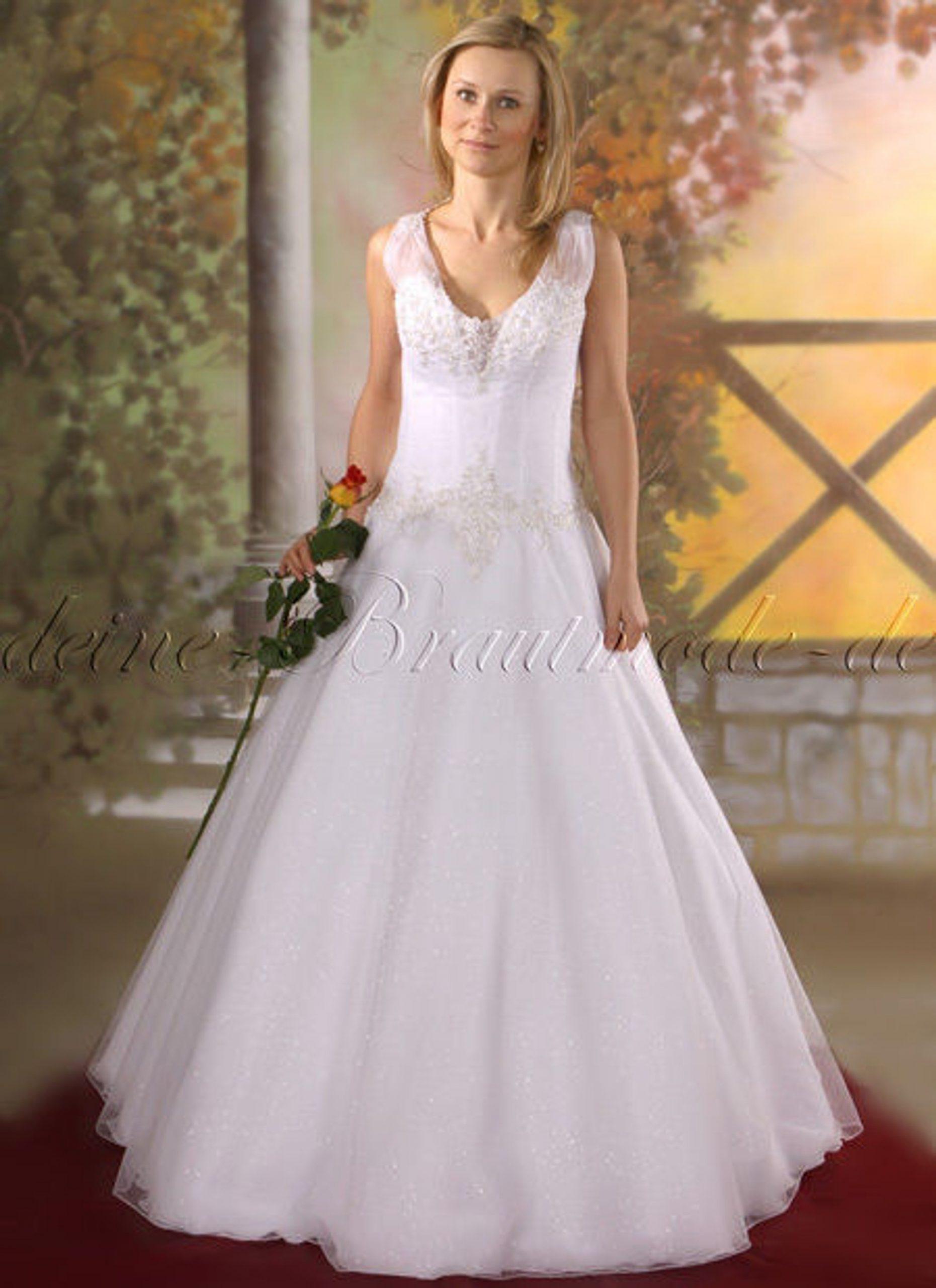 Hochzeitskleid Brautkleid Hochzeit Kleid Tüll Träger, Ärmellos, Weiß,  Ivory, Neu