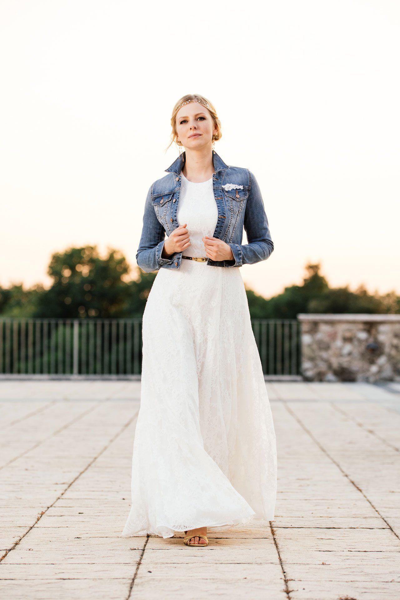 Hochzeitskleid Jeansjacke | Hochzeitskleid Jeansjacke