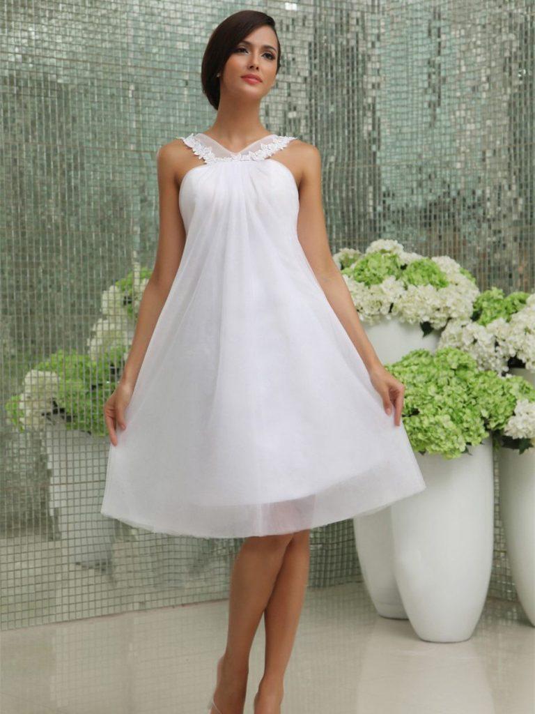 Hochzeitskleid Kurz Schlicht  Kleider Für Hochzeit - Abendkleid