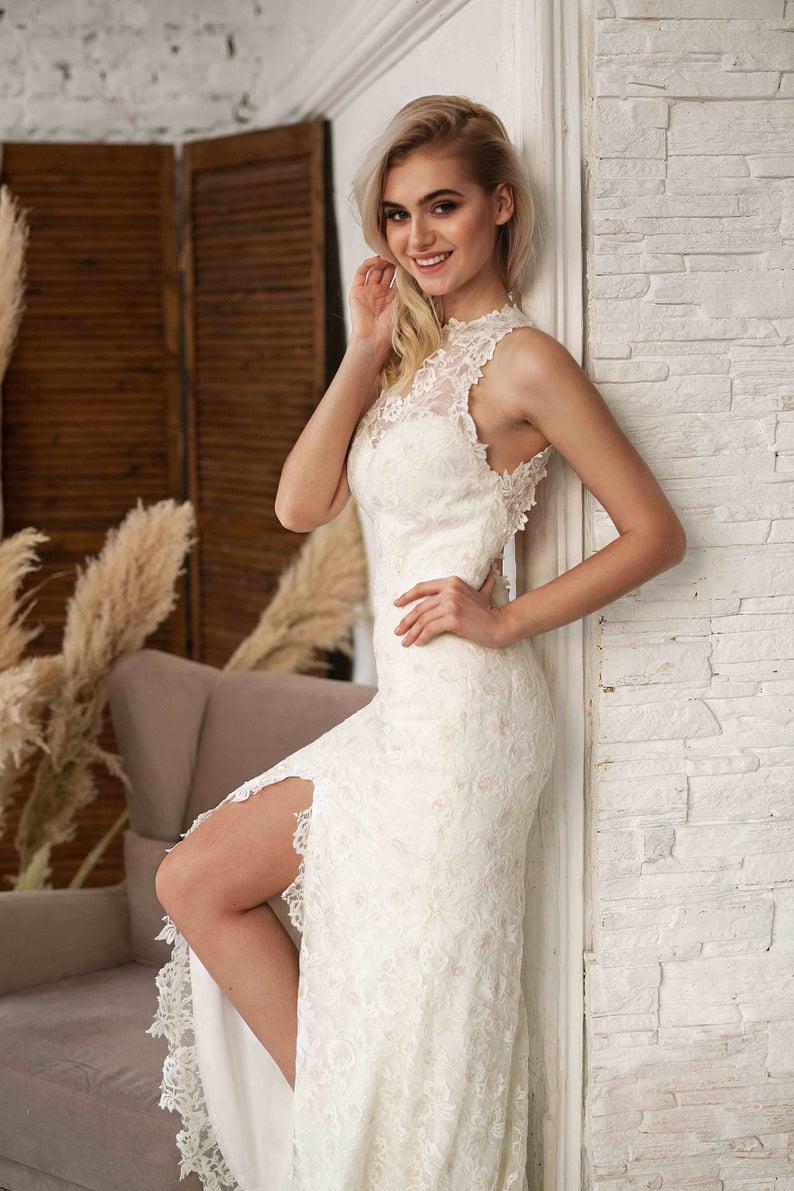 Hoher Hals Spitze Kleid, Weiße Hochzeit Kleid Spitze, Strand Brautkleid,  Neckholder Brautkleid, Weiße Spitze Kleid Frauen, Boho Spitze Brautkleid
