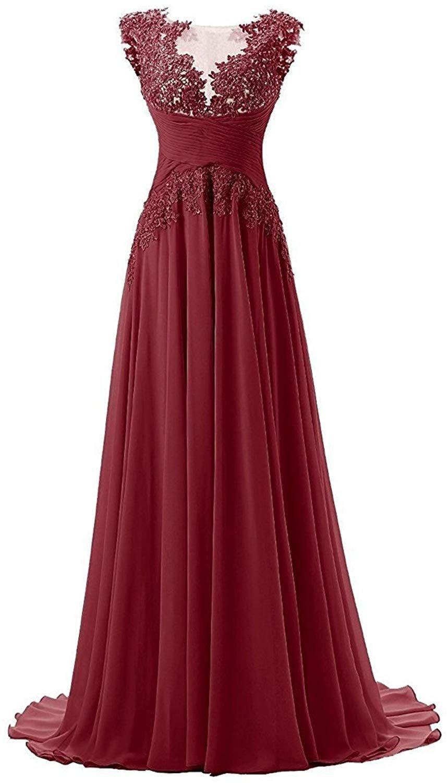 Huini Abendkleider Lang Empire Applikationen Chiffon A-Linie