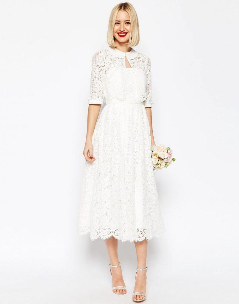 Image 16 Of Asos Bridal Lace Bandeau Midi Prom Dress With - Abendkleid