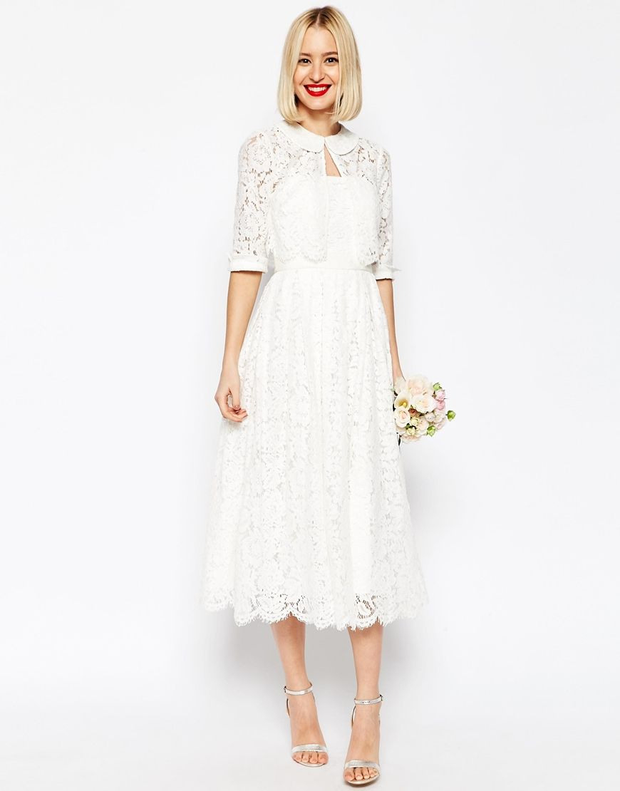 Image 1 Of Asos Bridal Lace Bandeau Midi Prom Dress With