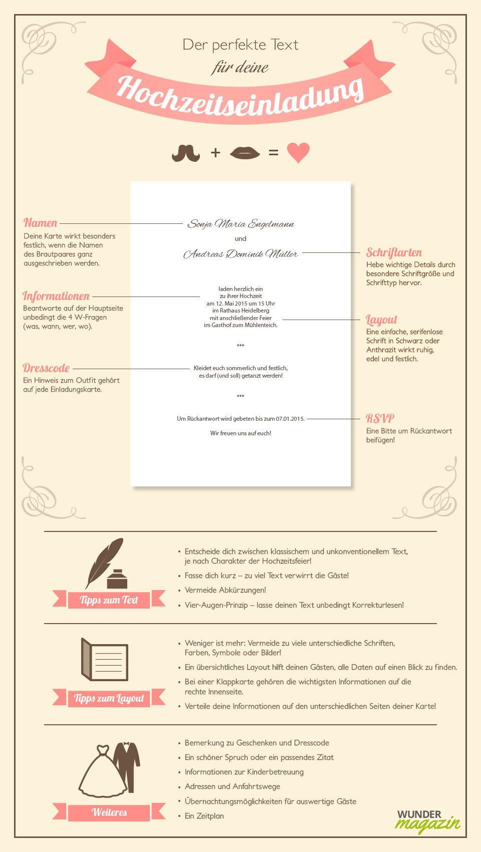 Infografik Zu Hochzeitseinladung Text | Hochzeit
