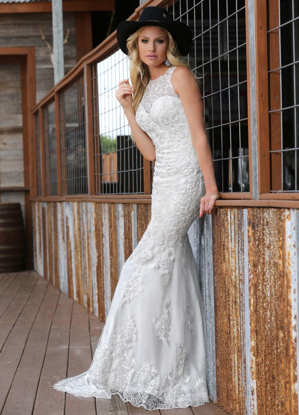 Italienische Hochzeit Kleider High Neck Flores Para Noivas