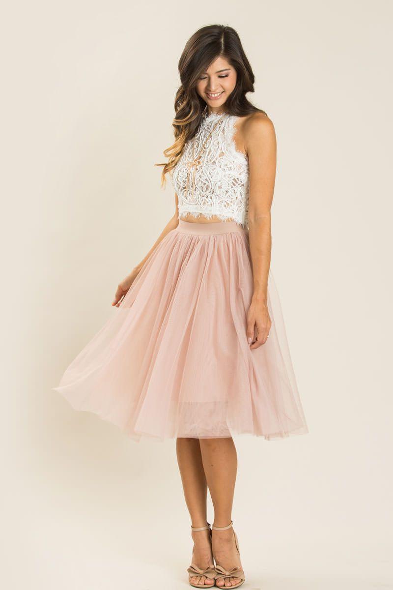 Jacqueline Dusty Rose Tulle Midi Skirt   Kleid Hochzeit Gast