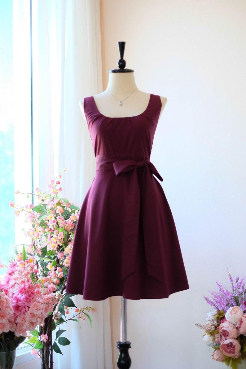 Kastanienbraun Rot Maroon Brautjungfernkleid Vintage Kleid Hochzeit Gast  Kleid Tee Party Kleid Frühling Sommer Sommerkleid