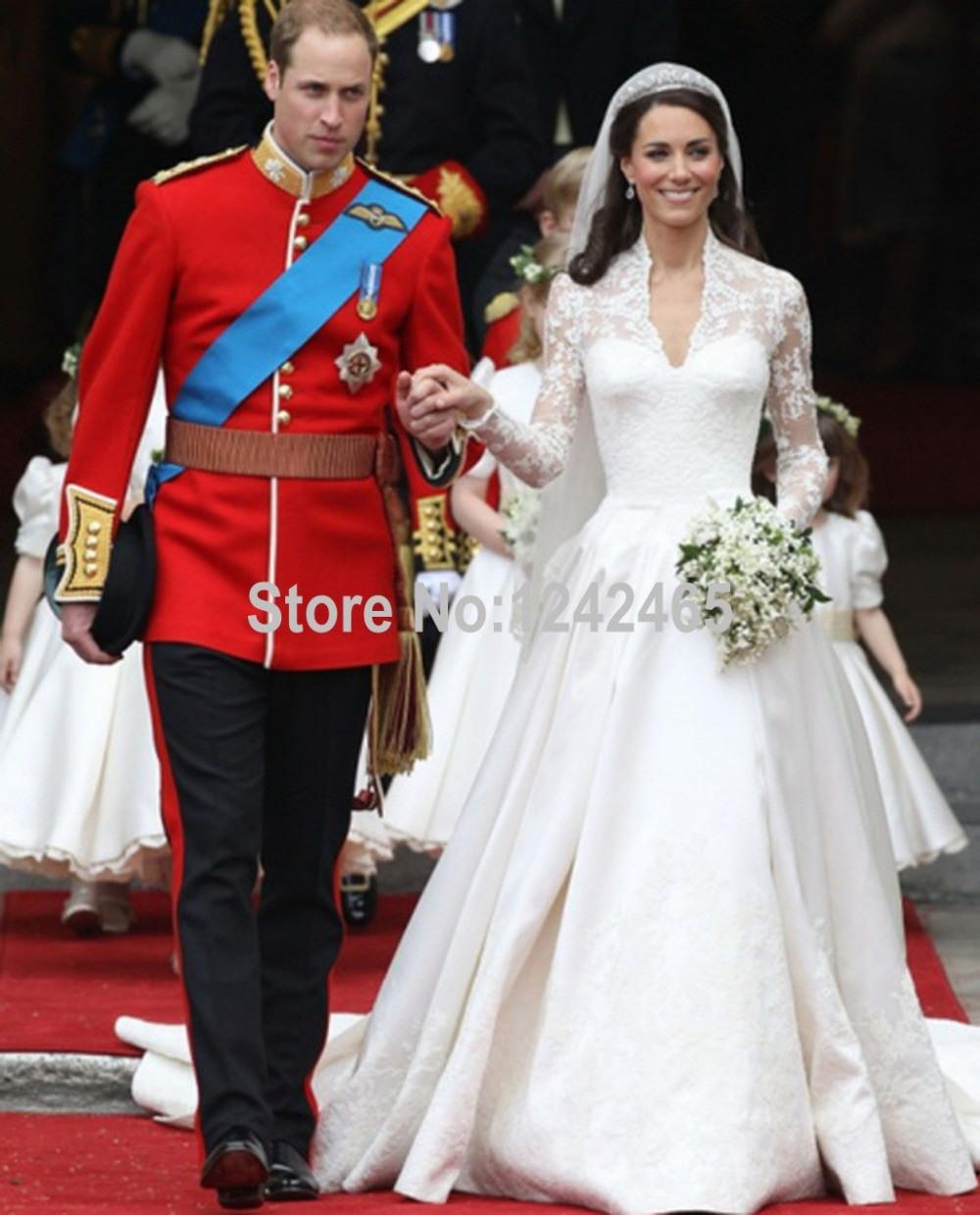 Kate Middleton Hochzeitskleid Dom/royal Zug Langen Ärmeln