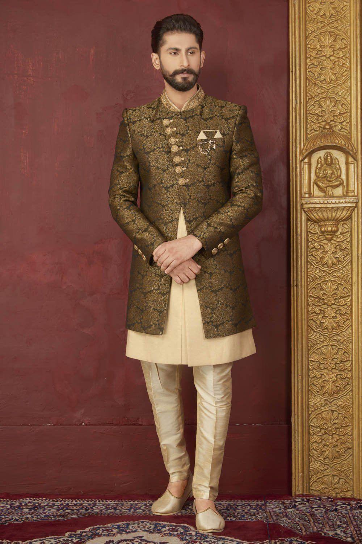 Kesari Export Men's Jacquard Art Silk Sherwani In Black And