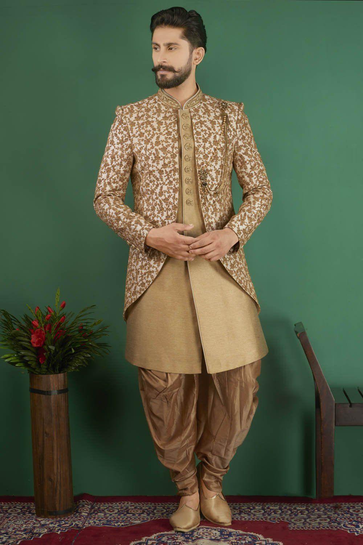 Kesari Export Men's Jacquard Art Silk Sherwani In Gold #men