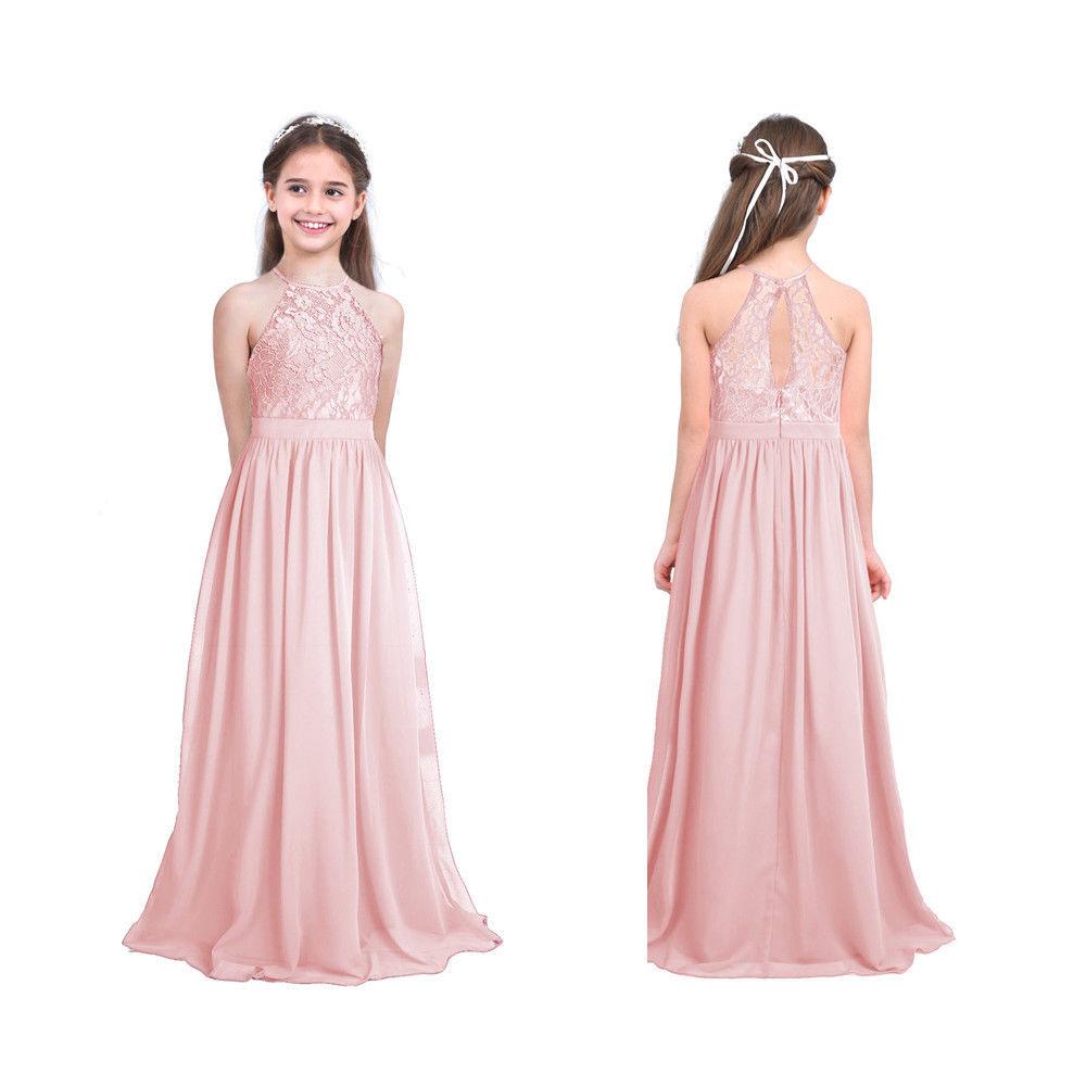 Kinder Blumen Mädchen Neckholder Chiffon Kleid Pink Gr. 104 116 128 140 152  164