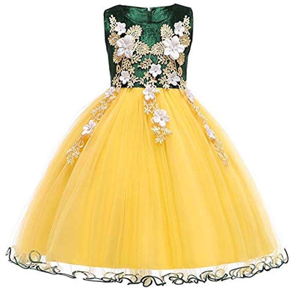 Kinder Mädchen Langes Festlich Kleid Blumenmädchenkleid