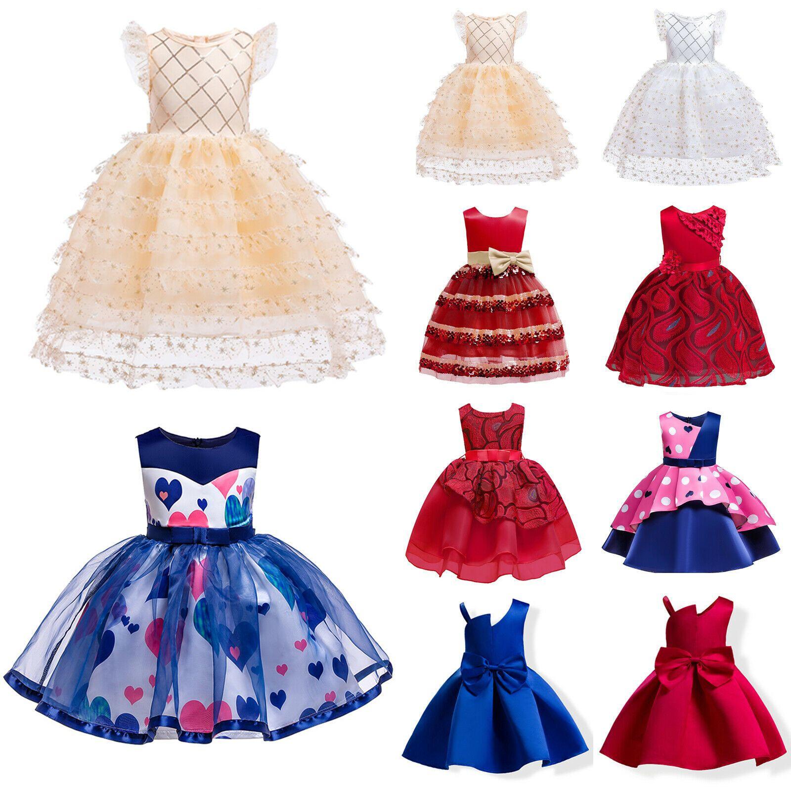 Kinder Mädchen Prinzessin Partykleid Tüll Kleider Hochzeit