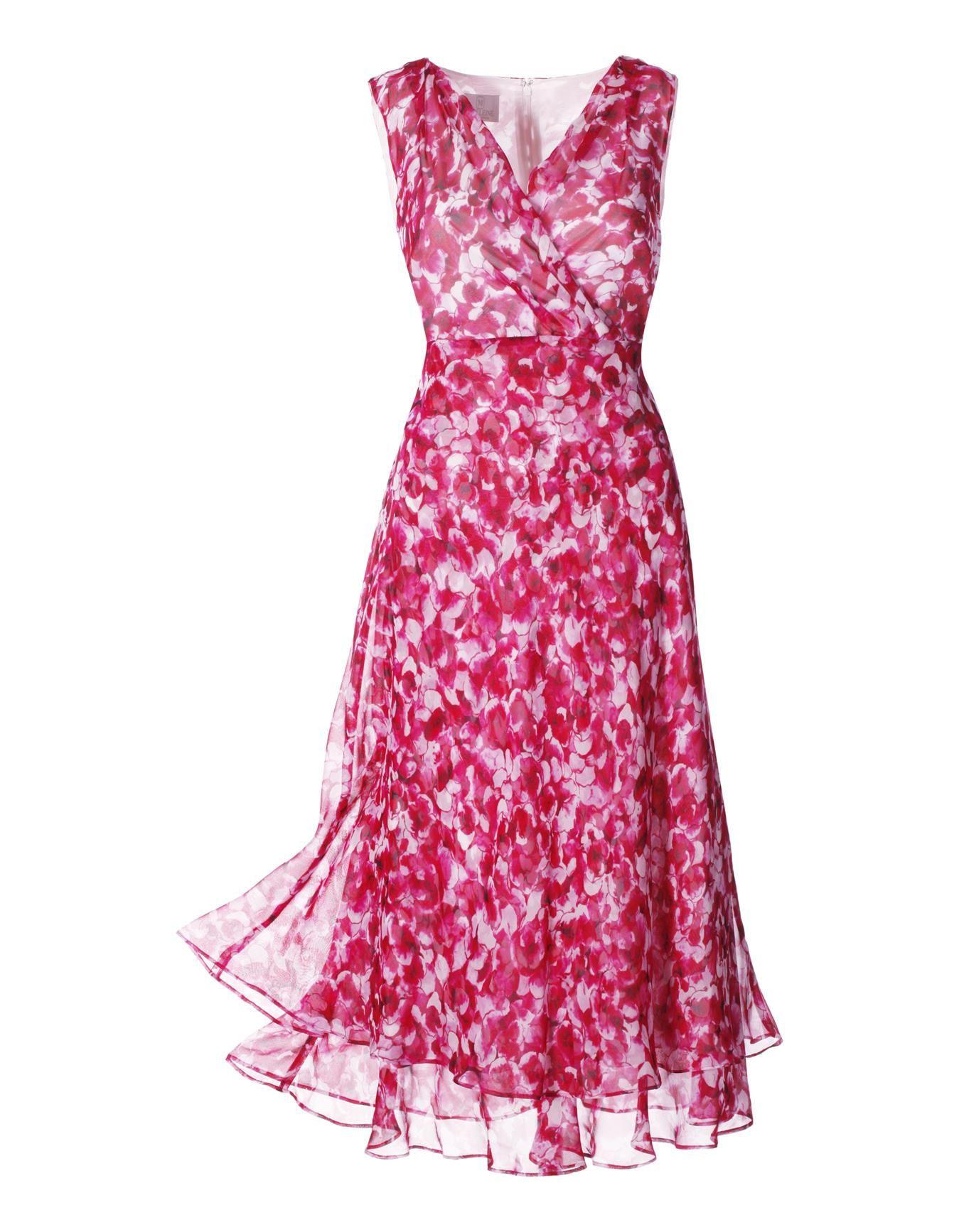 Kleid Aus Seide In Der Farbe Fuchsia / Weiß - Pink, Weiß