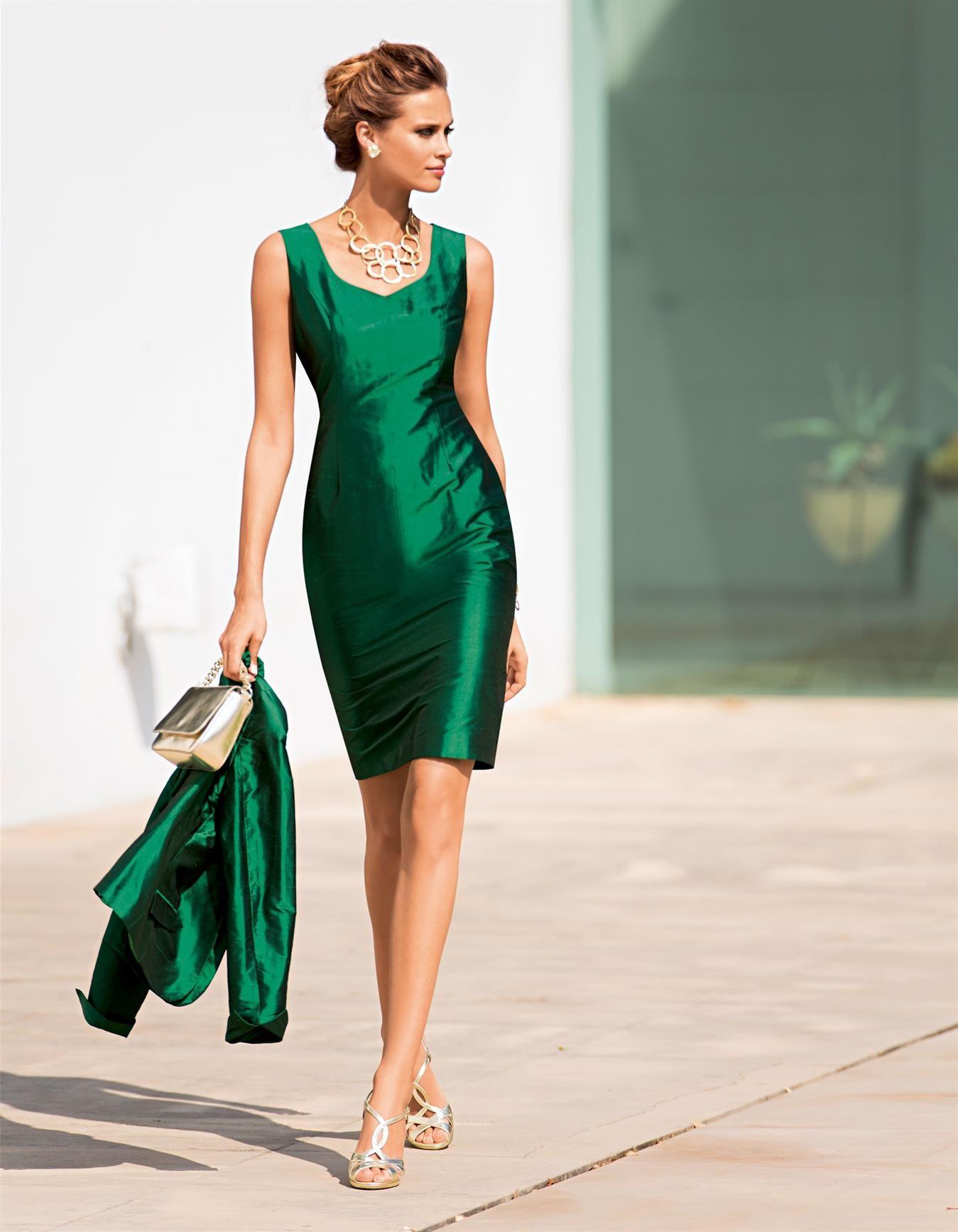 Kleid Aus Shantungseide In Der Farbe Smaragd - Grün - Im