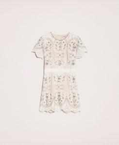 Kleid Aus Spitze Mit Stickereien Frau, Weiß   Twinset Milano