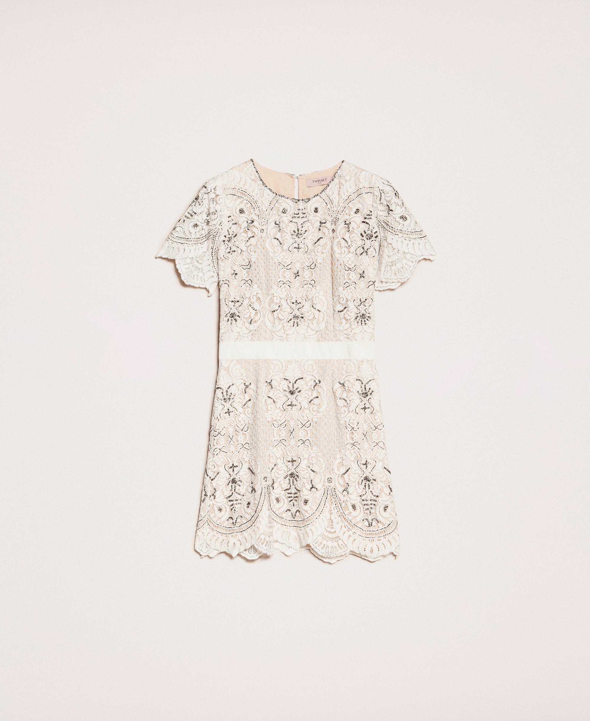Kleid Aus Spitze Mit Stickereien Frau, Weiß | Twinset Milano