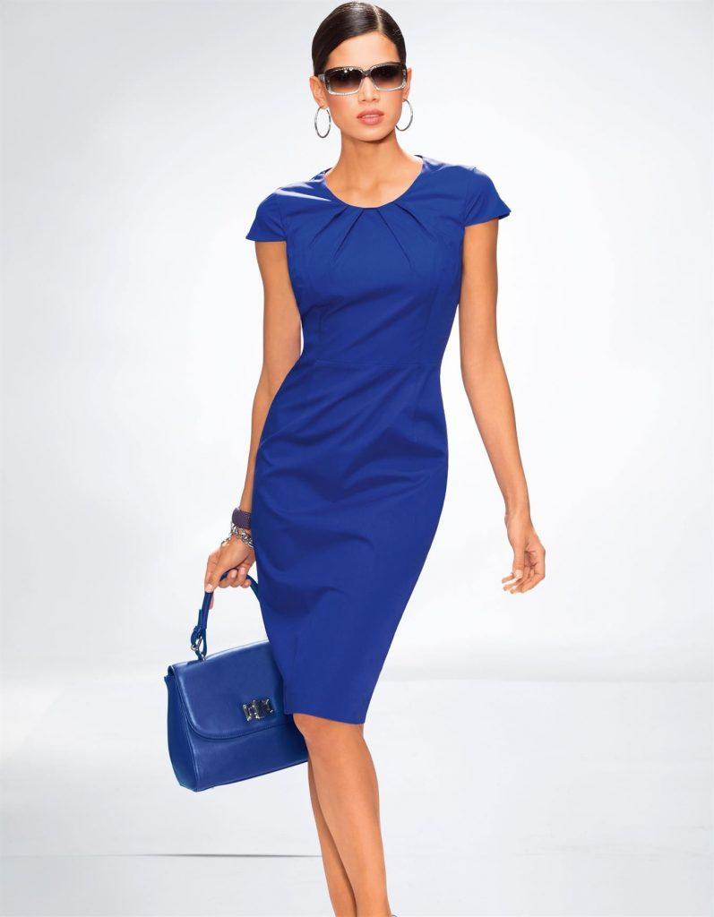 Kleid In Den Farben Weiß, Rot, Royal, Schwarz - Royalblau - Abendkleid