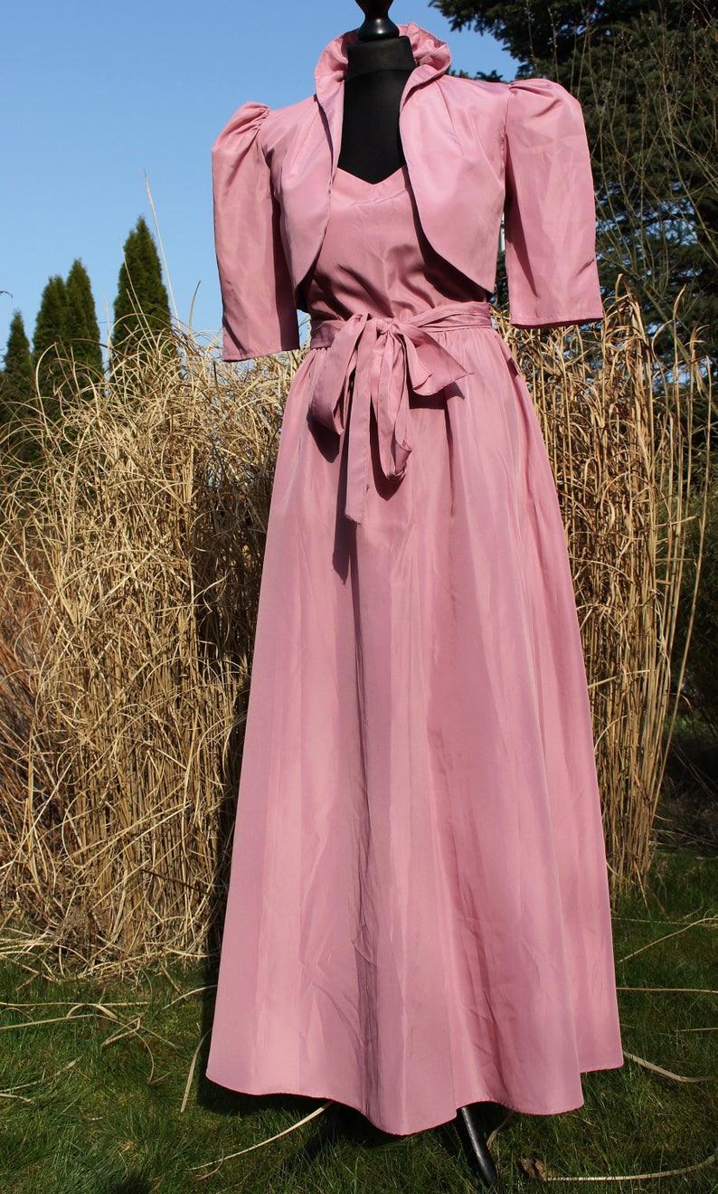Kleid Maxikleid + Bolero Gr.xs S 34 36 Jacke Elegant Edel Abendkleid 70Er  80Er Altrosa Trägerkleid Vintage Party Ball Event