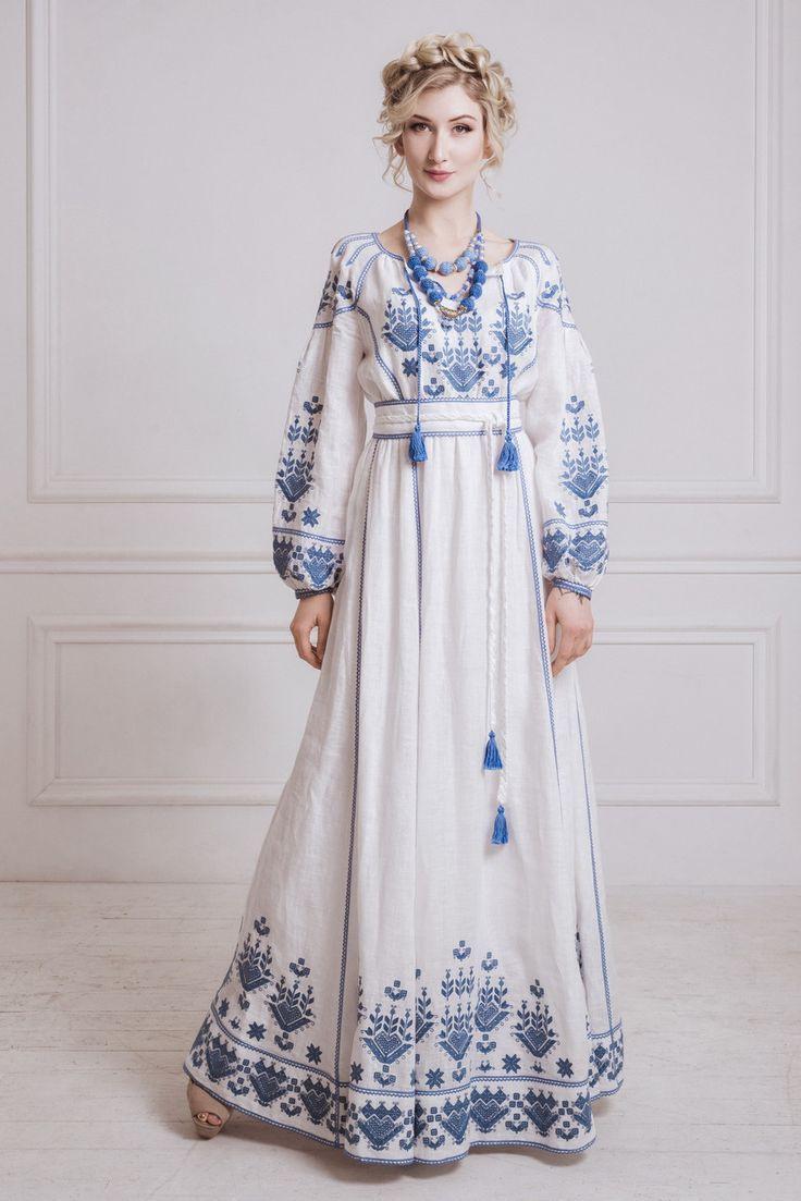 Kleid Mit Flachs Bestickt | Bestickte Kleider, Kleider, Kleidung