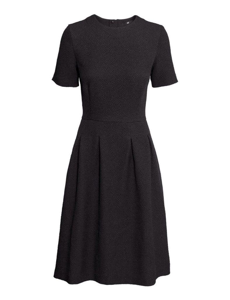 kleid mit strukturmuster | schwarz | damen | h&m de | mode