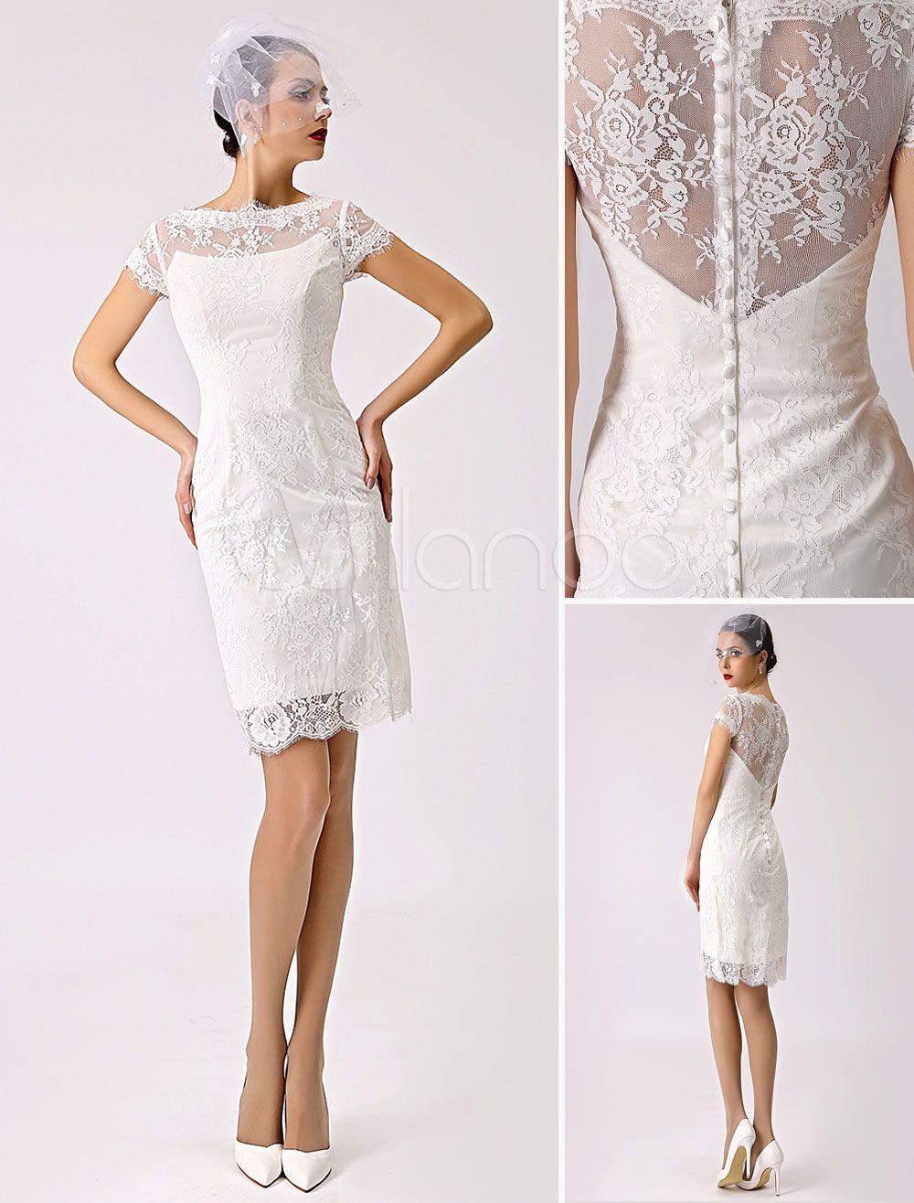Kurz Hochzeitskleider 2020 Spitze Illusion Kurz Sleeve