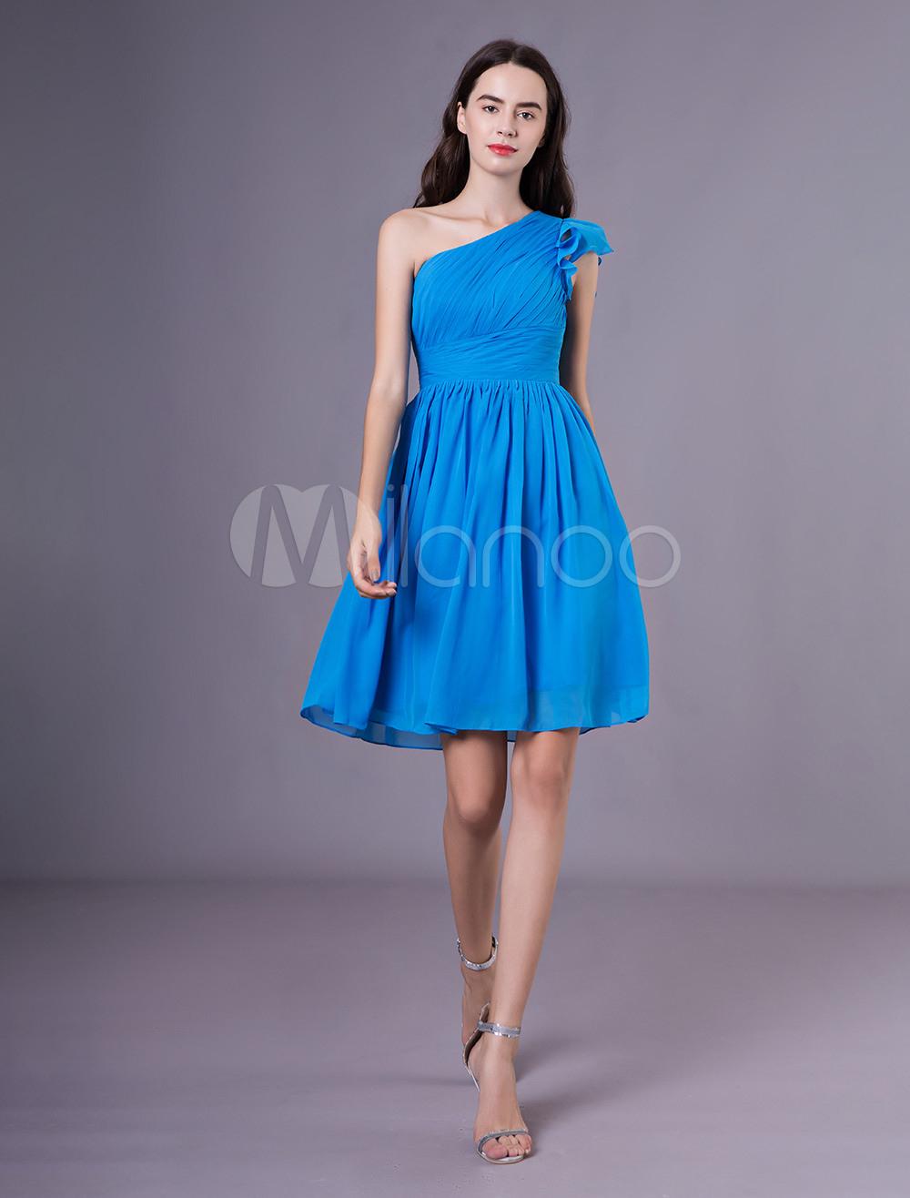 Kurze Brautjungfer Kleider Blau One Shoulder Plissee Chiffon Hochzeit Kleid