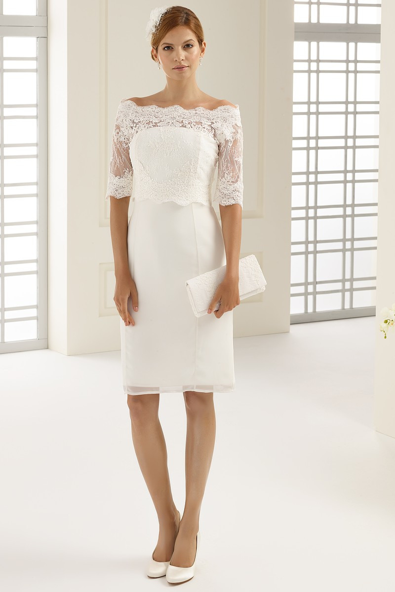 Kurzes Hochzeitskleid Ortensia Etuikleid Ivory | Nazzals