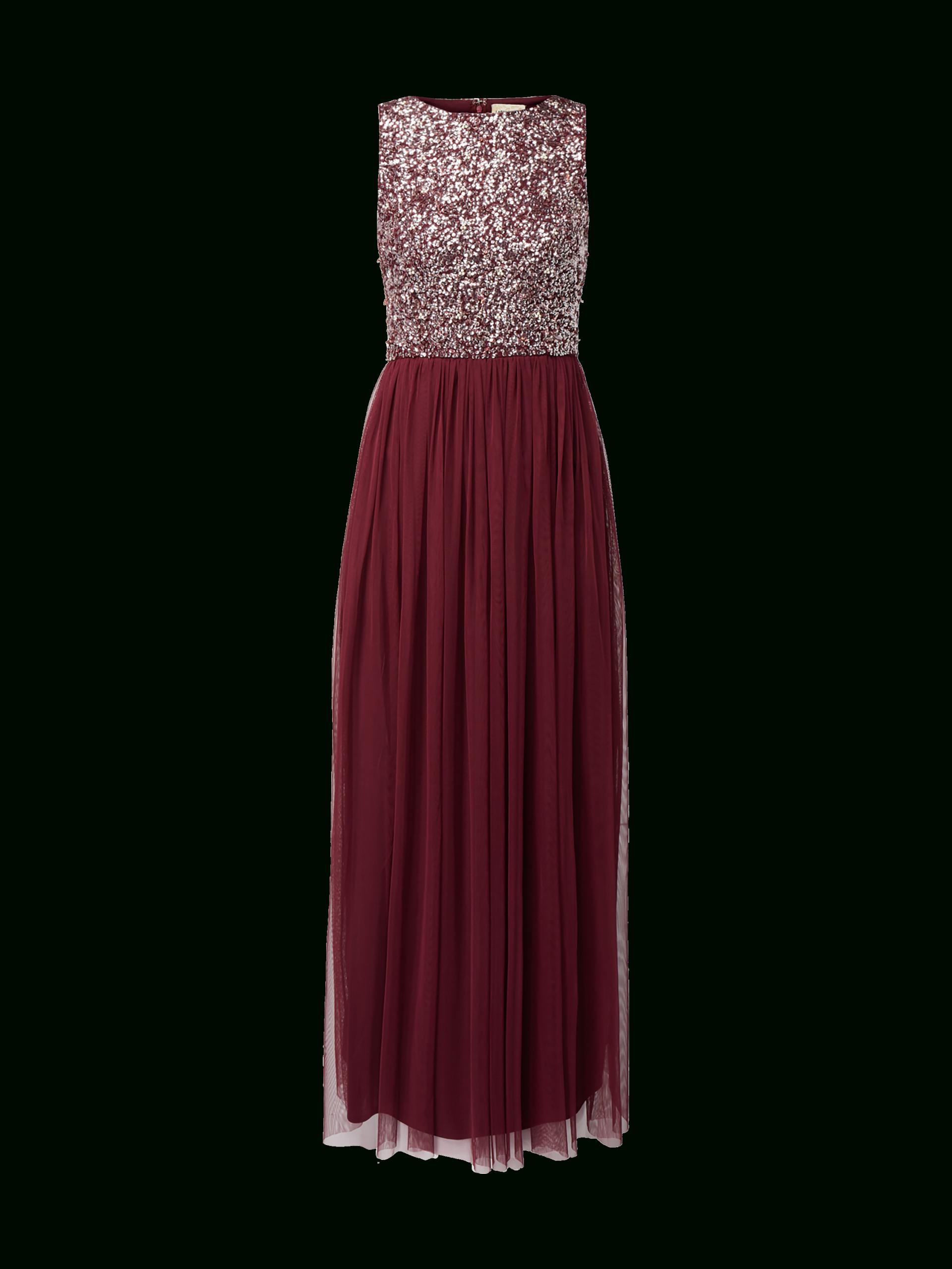 Lace & Beads – Abendkleid Aus Mesh Mit Pailletten-Besatz – Bordeaux Rot