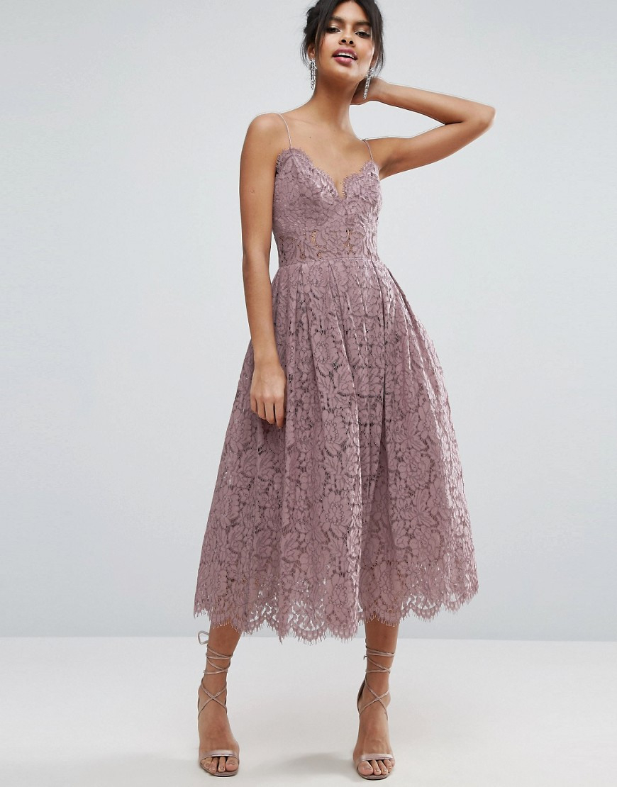 Lace Cami Midi Prom Dress - Asos