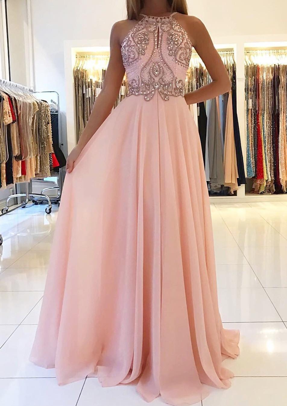 Lang Chiffon Rosa Rückenfrei Abendkleid Mit Strasssteinen - Abendkleid