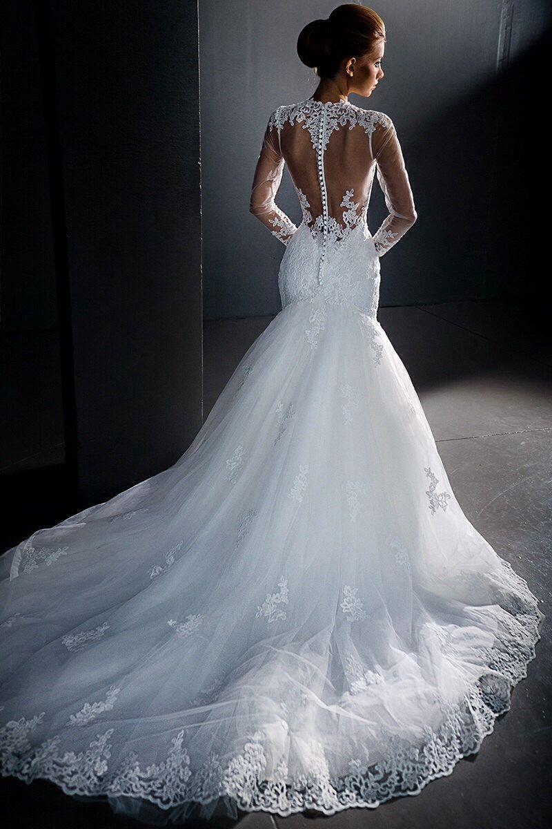 Langarm Brautkleid Spitze In Rückenfrei Optik Mit Weitem