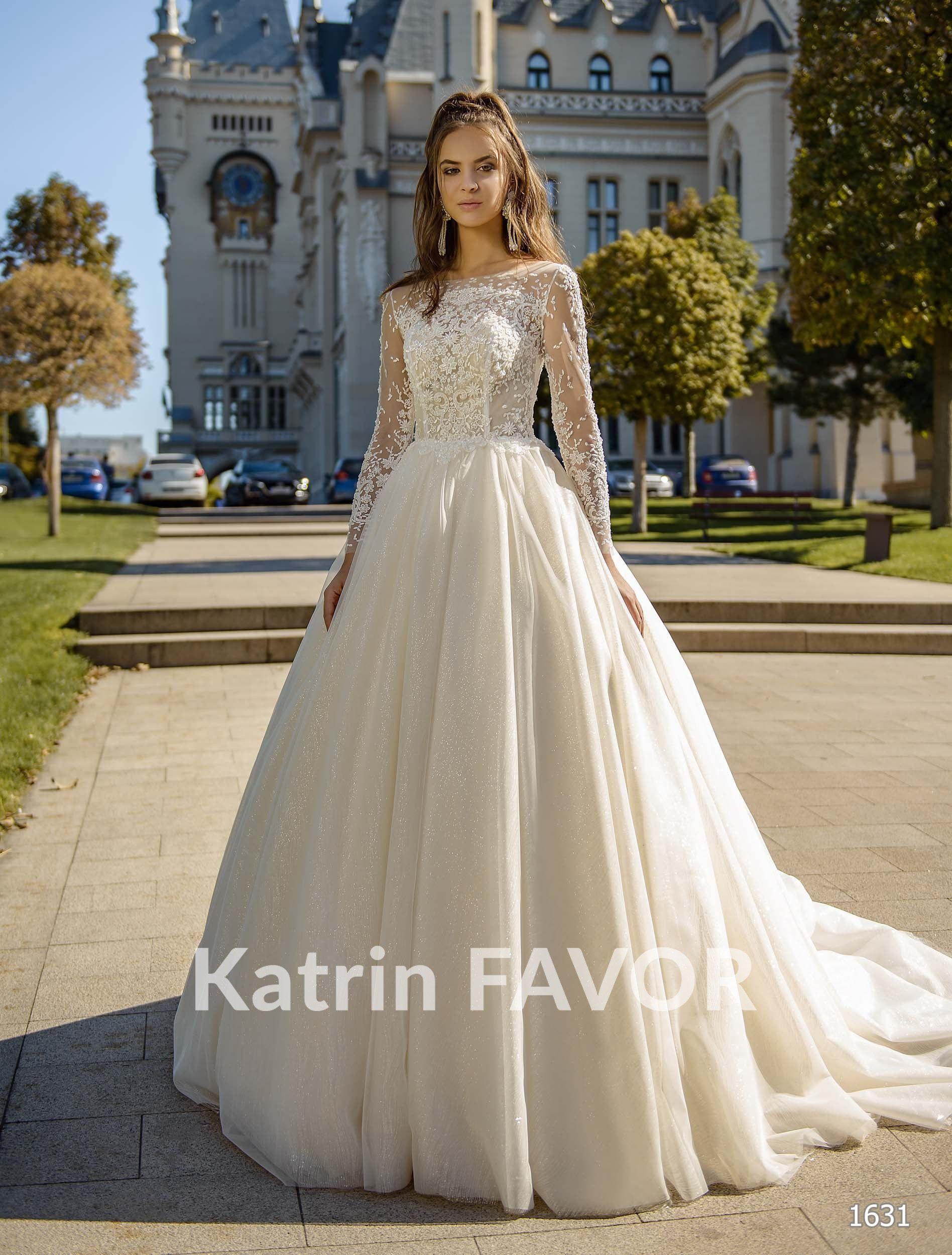 Langarm-Brautkleid,a-Line Brautkleid Perlen Hochzeit Kleid