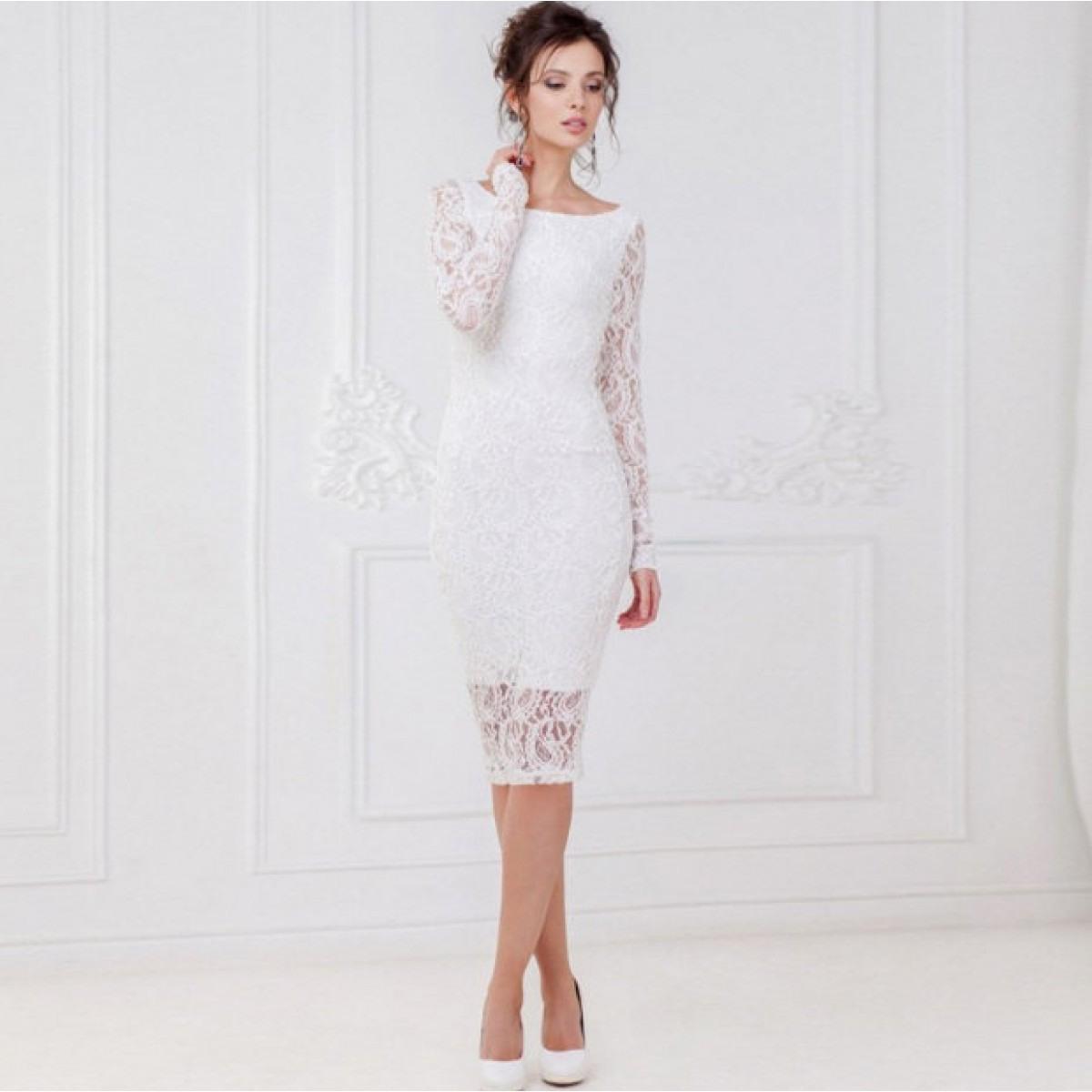 Langarm Midi Kleid Gerhilde Fuer Den Standesamt In Weiß