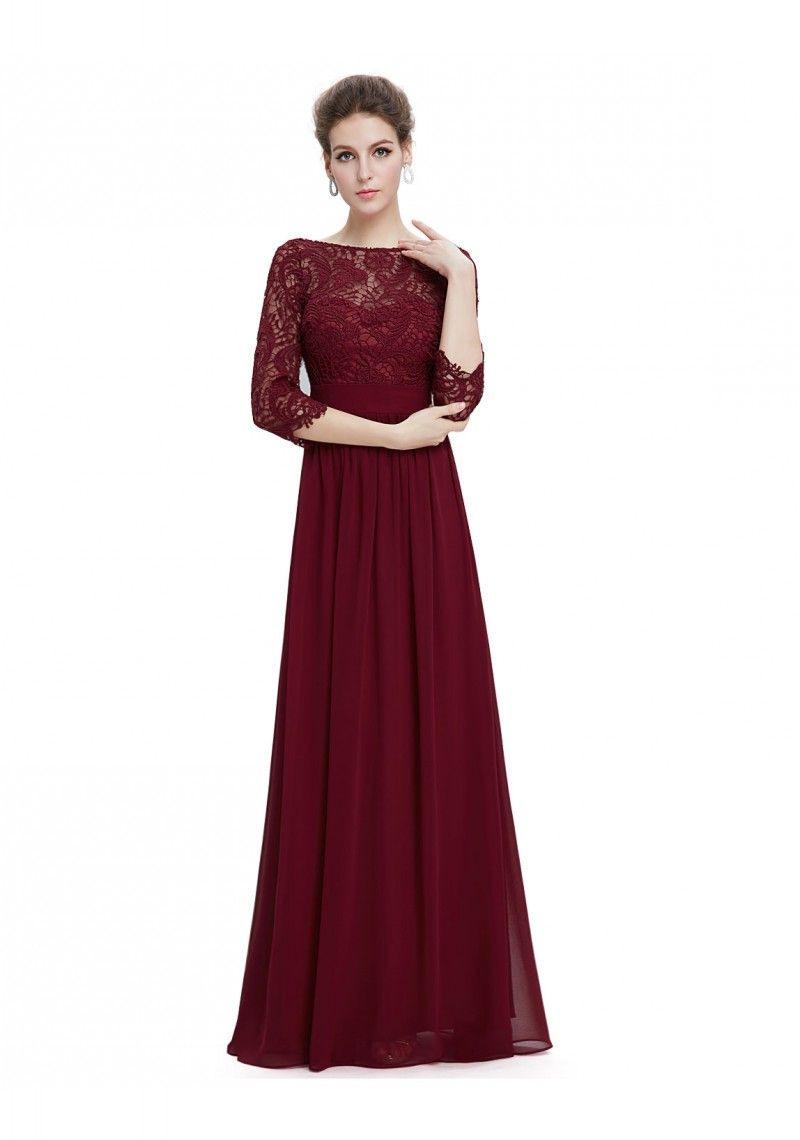 Langes Abendkleid Mit Eleganter Spitze Bordeaux Rot
