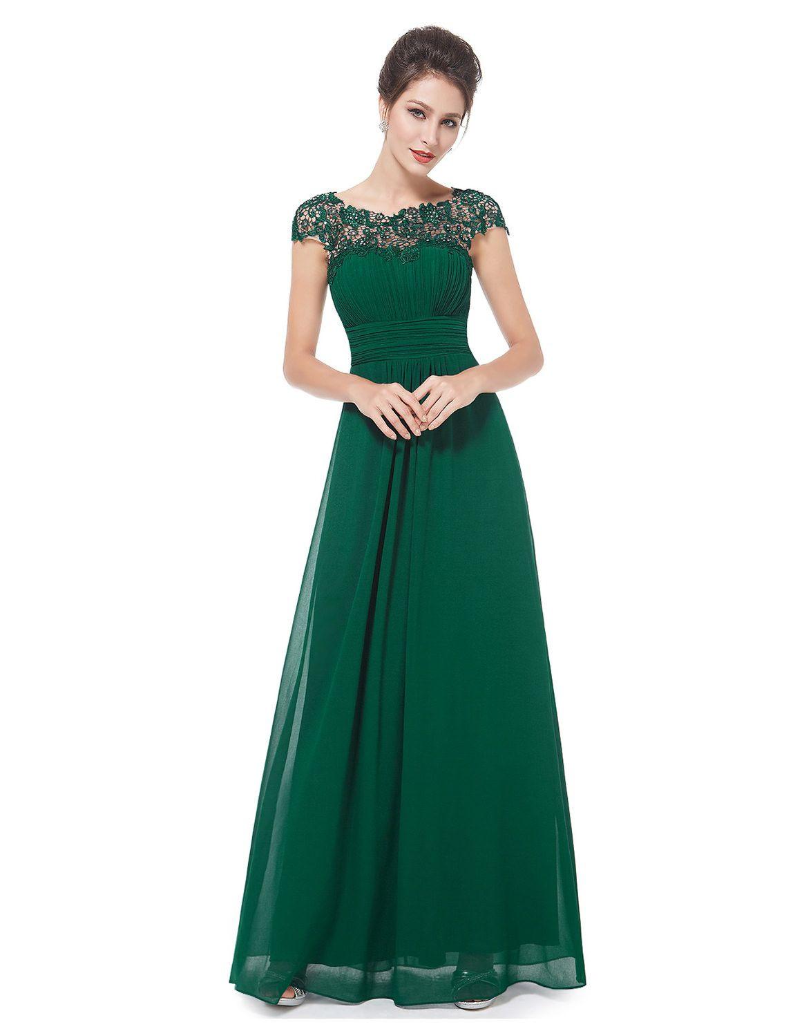 Langes Chiffon-Abendkleid Mit Spitze In Grün | Abendkleid