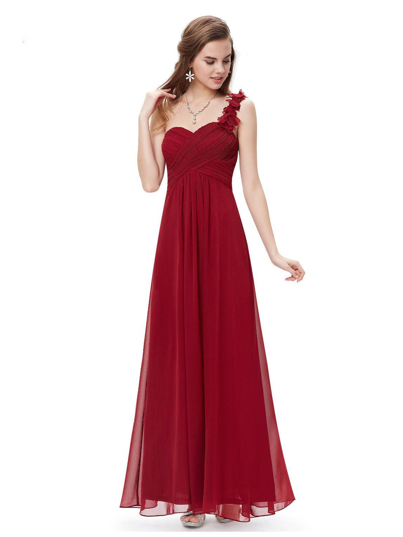 Langes One-Shoulder Abendkleid Rot | Brautjungfernkleider