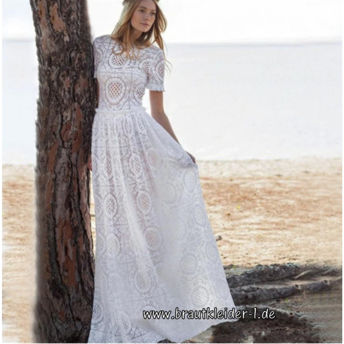 Langes Spitzenkleid Boho Kleid Für Den Standesamt Mit Ärmel