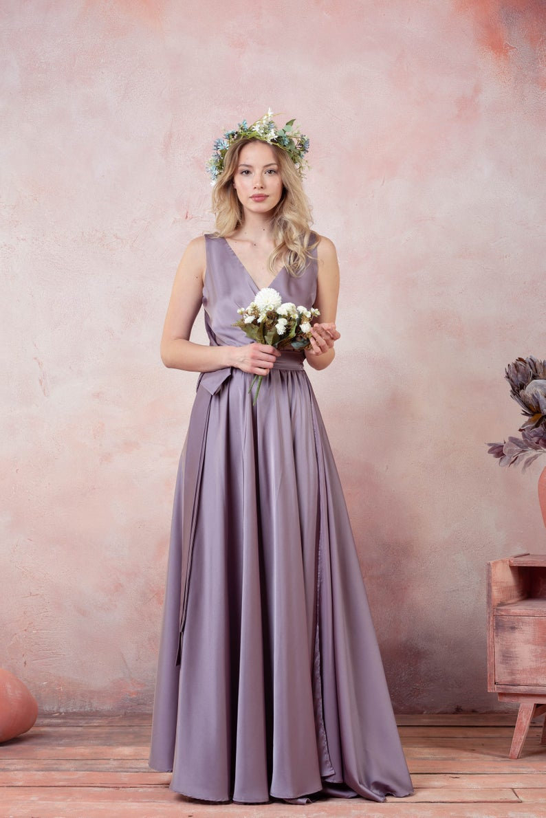 Lila Brautjungfer Kleid,multi-Way-Silk Wrap Dress,3/4-Ärmel