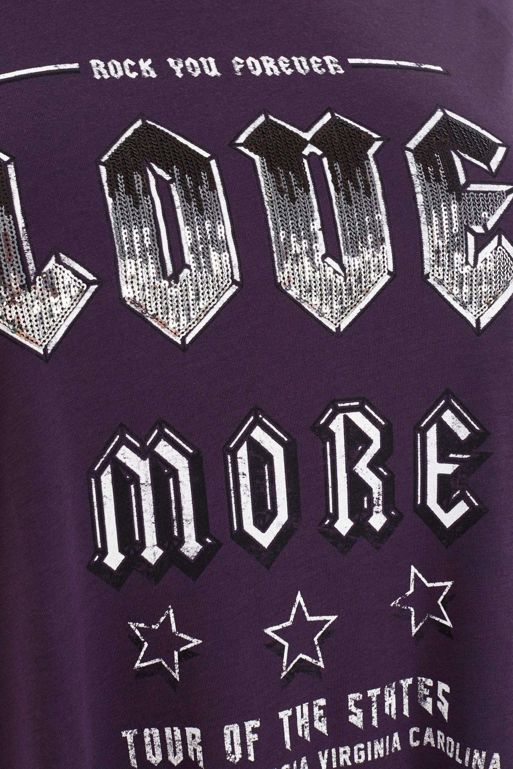 Lila Longline T-Shirt Mit Pailletten