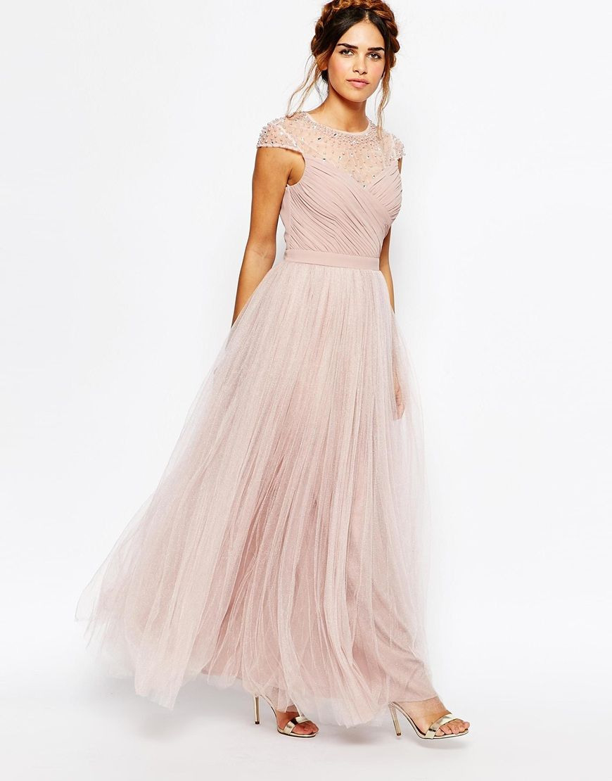 Little Mistress Ruched Bodice Maxi Dress With Pleated Tulle