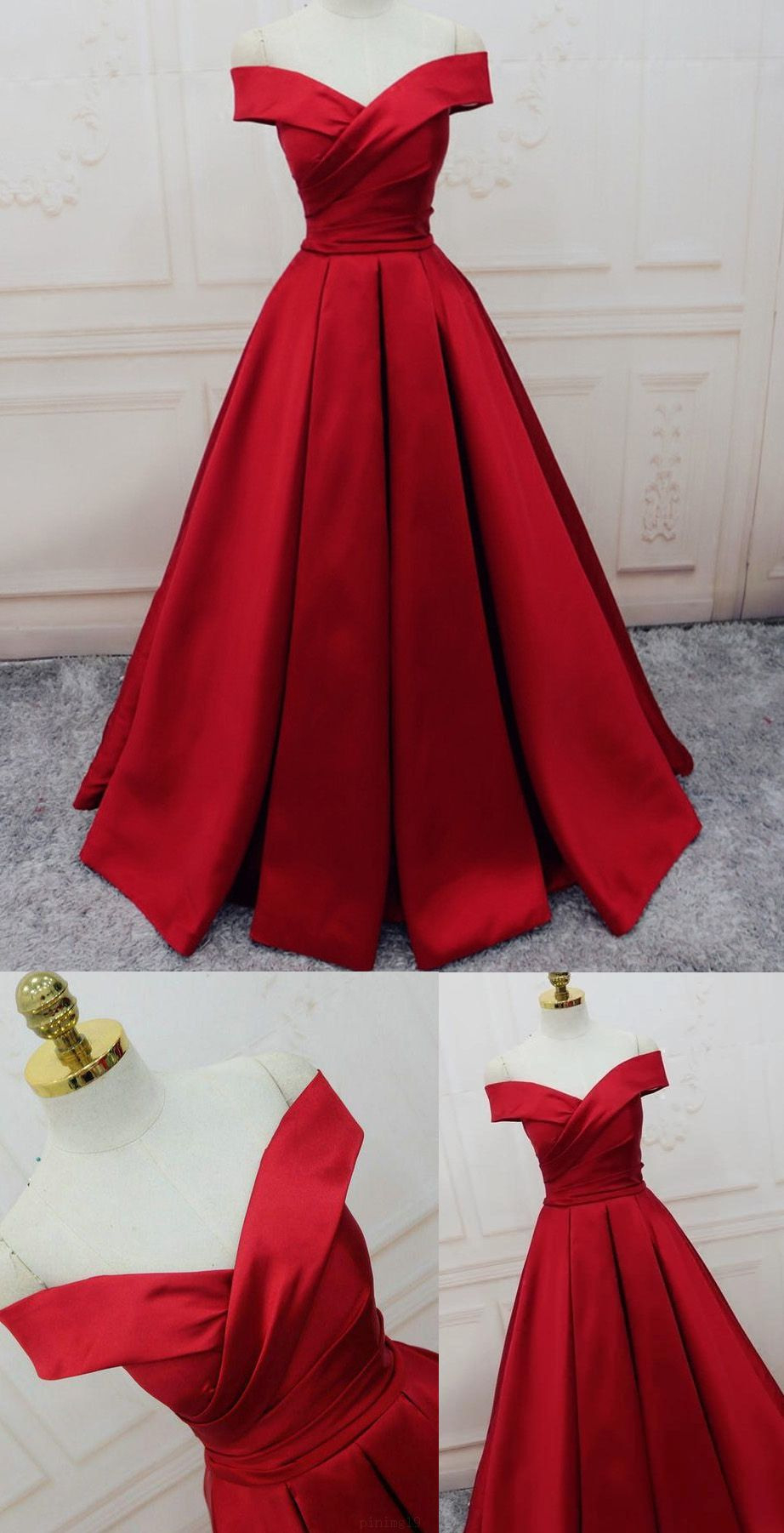 Long Prom Dresses, Burgundy Prom Dresses, Off The Shoulder