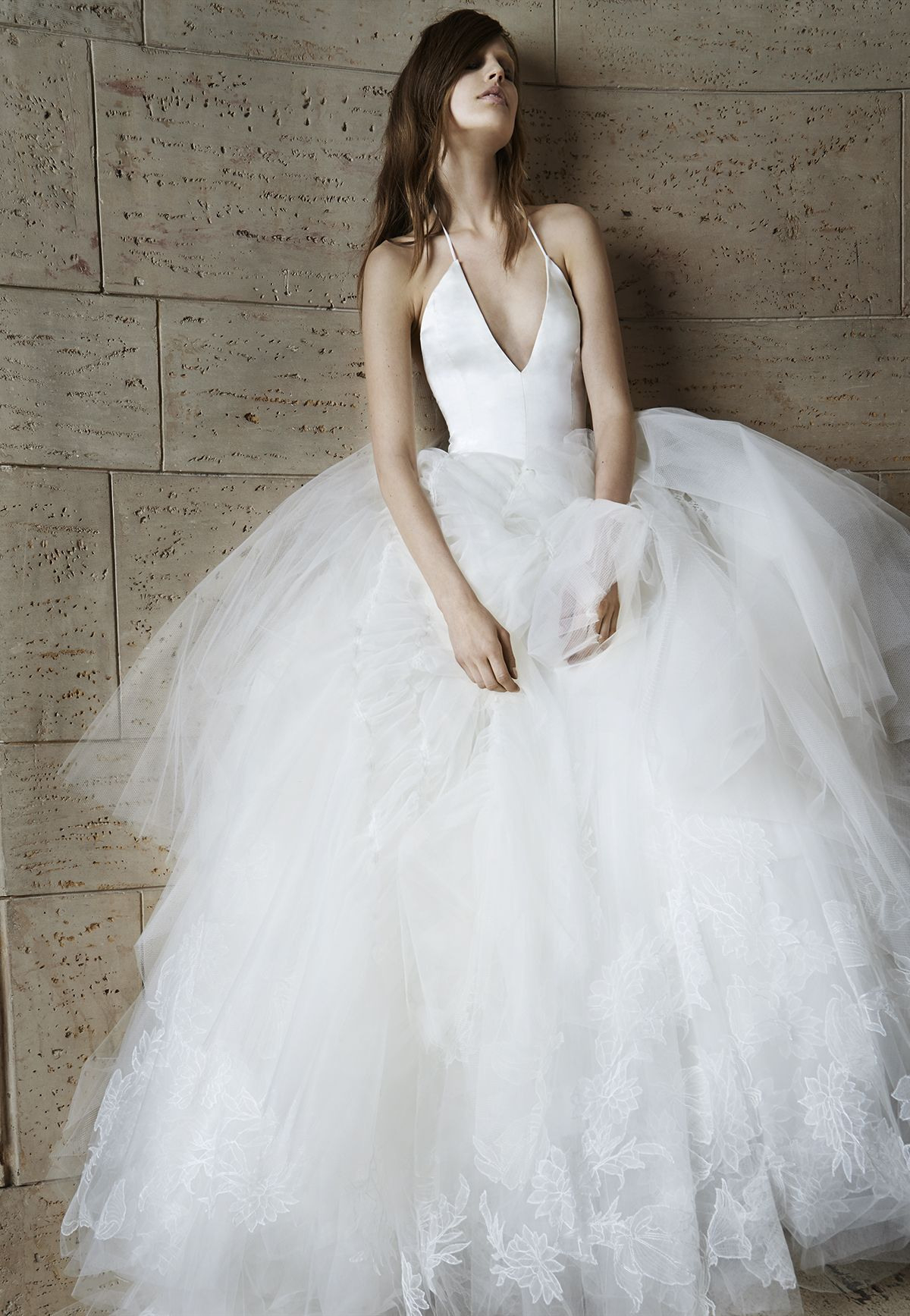 Look 16. Ivory Deep V-Neck Silk Charmeuse Halter Ball Gown