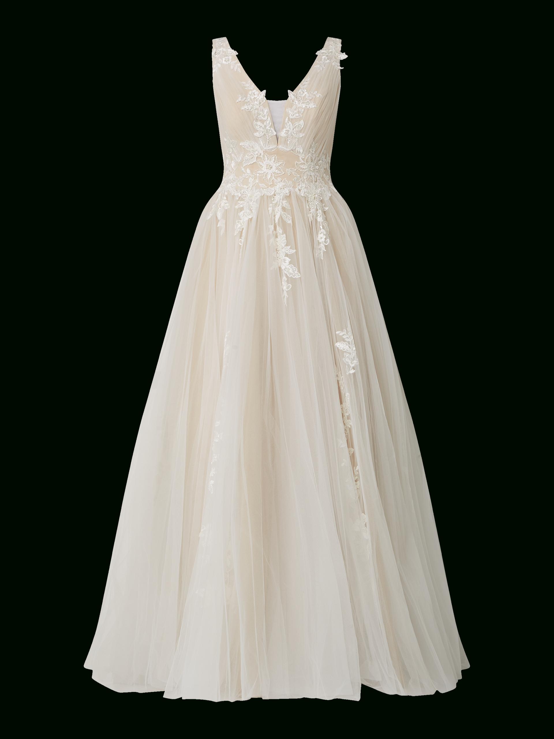 Luxuar – Brautkleid Aus Mesh Mit Stickereien – Offwhite