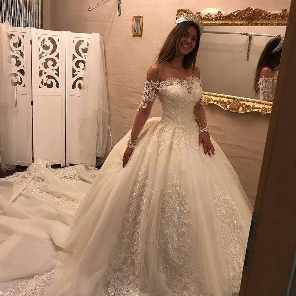 Luxury Brautkleider Spitze Mit Lange Ärmel Prinzessin